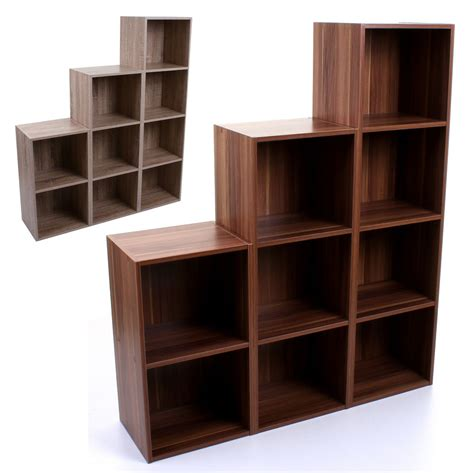 wooden cube shelf 2 3 4 tier wooden bookcase shelving display storage unit
