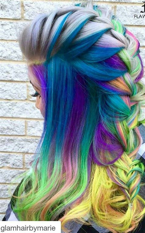 Blue Mixed Braided Rainbow Dyed Hair Color In 2019