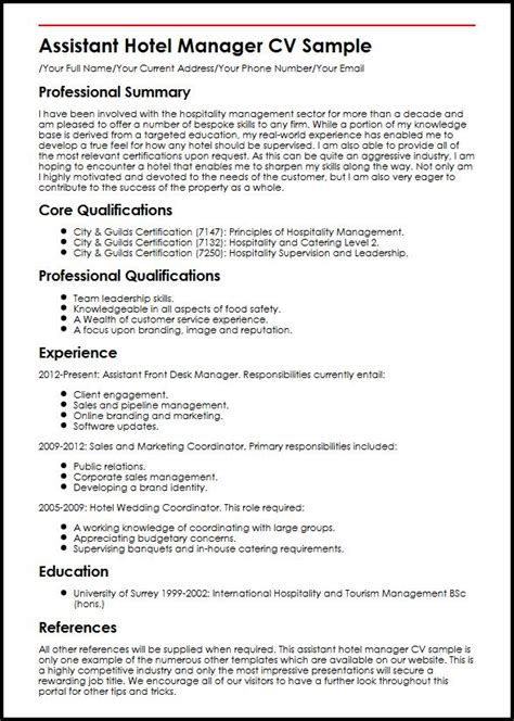 Front Of House Hospitality Resume by Assistant Hotel Manager Cv Sle Myperfectcv