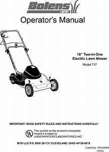 Bolens 18a 717 765 User Manual Electric Mower Manuals And