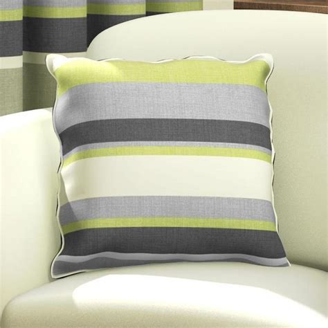 Green Natural & Grey Striped Cushion Cover   Tonys Textiles