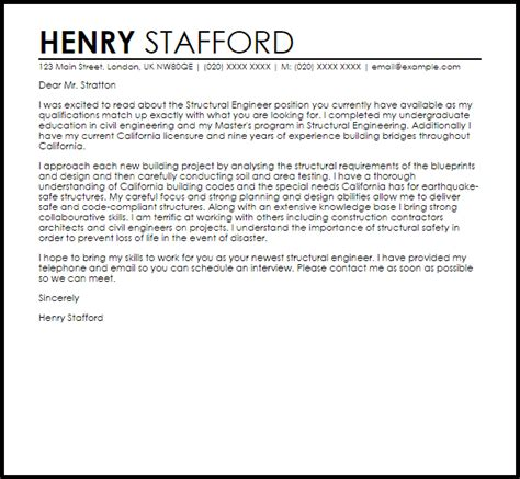 structural engineer cover letter sample cover letter