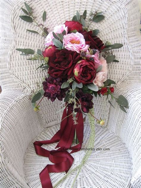 Rose And Dahlia Marsala Cascading Silk Bridal Bouquet