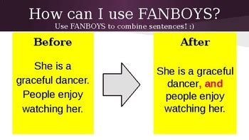 fanboys  create compound sentences  joan