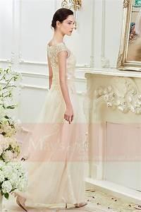 robe long champagne col rond en dentelle fleurie With robe fourreau fleurie