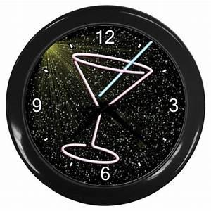 NEON MARTINI GLASS DESIGN Wall Clock Home Decor Bar