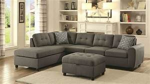 Stonenesse grey fabric sectional sofa steal a sofa for Long island sectional sofa grey fabric