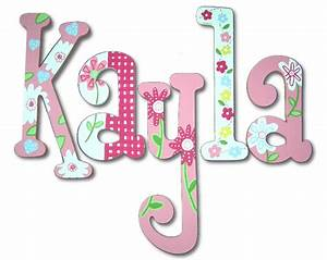 Kayla's Gingham & Flowers Hand Painted Wall Letters