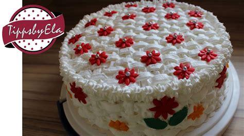 fototorte selber machen muttertagstorte korb torte selber machen anleitung basket pattern birthday cake how to