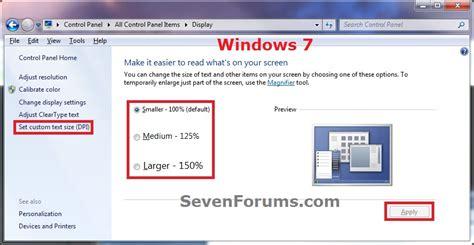 dpi display size settings change windows 7 help forums