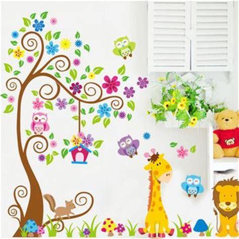 papier peint chambre bébé mixte animales de la jirafa pegatinas de pared árbol búho