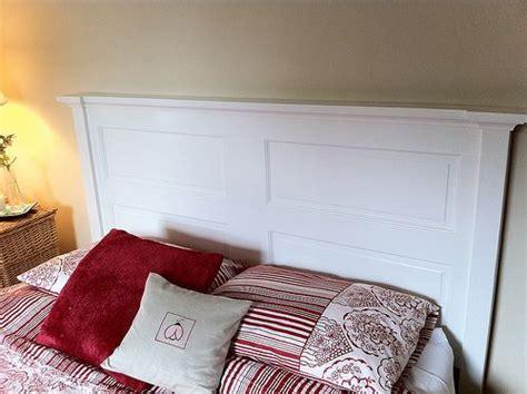 White Headboard Made Out Of An Old Door