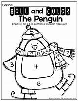 Addition Dice Roll Penguin Winter Simple Sight Math Activity Words Count Kindergarten Theme Number Adding Counting Fun Activities Practice Atividades sketch template