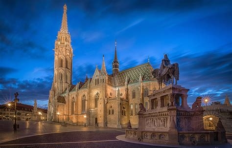 Pc Lights by Picture Church Budapest Hungary Monuments Temples Evening