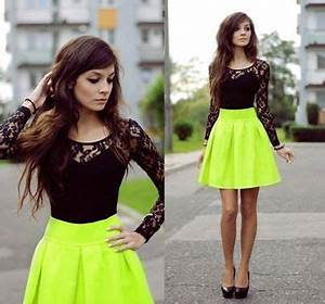 neon green skirt cute black lace top