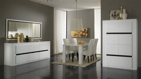 salle à manger complète design laquée blanche et