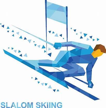 Cartoon Slalom Skiing Skier Winter Sports Vector
