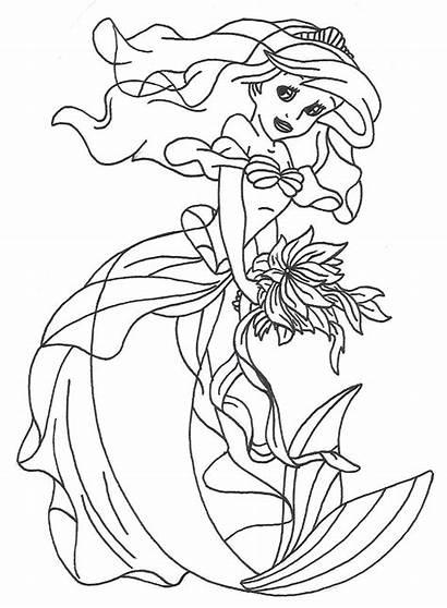 Princess Pages Ariel Coloring Disney Mermaid Lineart