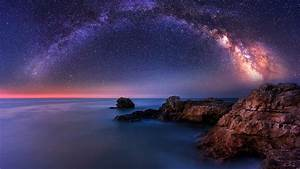 Milky Way Over The Sea Chromebook Wallpaper