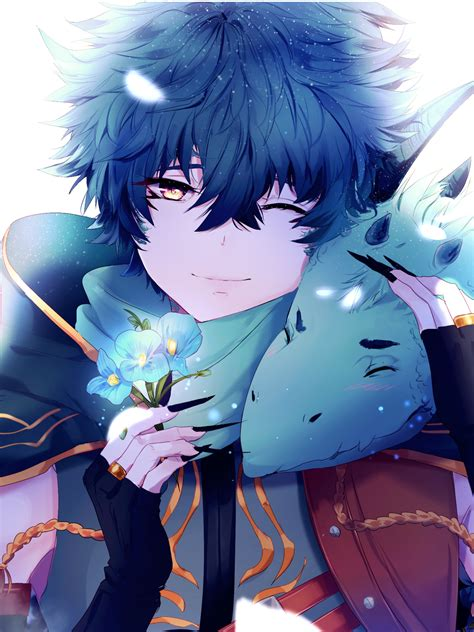 wallpaper anime boy dragon blue flowers  anime