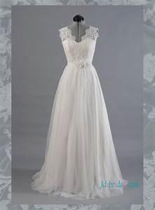romance 2016 flowy boho illusion lace back wedding dress With flowy wedding dresses