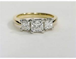 gold 3 stone engagement rings wedding promise diamond With stone wedding rings