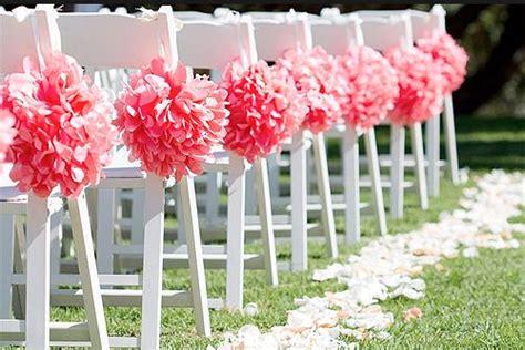 coral wedding coral aisle decorations pom poms tissue paper pom poms colors for 2014