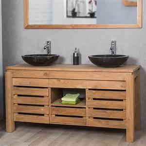 meuble de salle de bain en teck zen double vasque 145cm With meuble vasque salle de bain longueur 50 cm