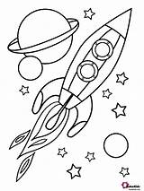 Coloring Space Planets Rocket Outer Stars Bubakids sketch template