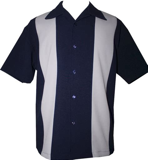 t shirt jazz only size s m l xl mens navy grey two panel retro button up bowling shirt