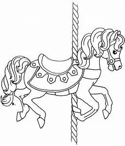 carousel coloring pages coloring home With merry go round horse template