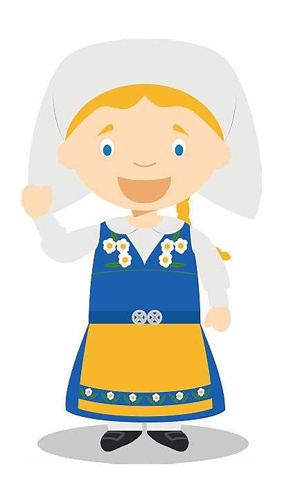 Sweden Traditional Illustration Vector Swedish Character Culture
