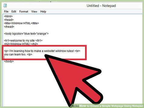 how to create a simple webpage using notepad with exles