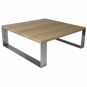 Table Chene Et Metal : table basse ch ne et m tal profil 100x100cm open design ~ Teatrodelosmanantiales.com Idées de Décoration