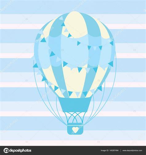 Tarjeta de ducha de bebé con lindo azul globo aerostático