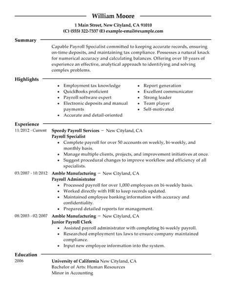 Hr Payroll Resume by Best Payroll Specialist Resume Exle Livecareer