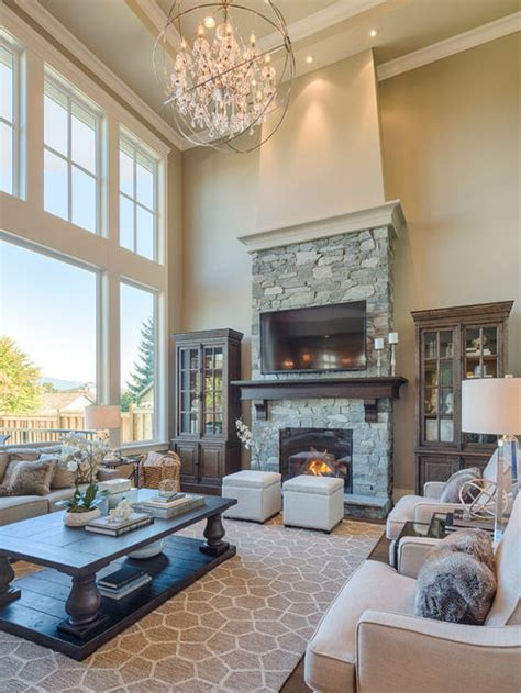 Houzz Living Rooms Traditional by Two Story Great Room Design Ideas Remodel Pictures Houzz