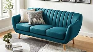 Canapé 3 Places Bleu : canap scandinave 3 places en tissu bleu collection odda ~ Melissatoandfro.com Idées de Décoration