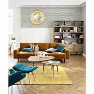 Tapis Jaune Maison Du Monde : tapis en coton jaune moutarde 155 x 230 cm feel maisons ~ Zukunftsfamilie.com Idées de Décoration