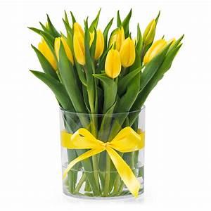 Tulpen In Vase : gele tulpen in een witte vaas geschenk ~ Orissabook.com Haus und Dekorationen