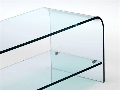porta tv cristallo porta tv in cristallo curvato con ripiano