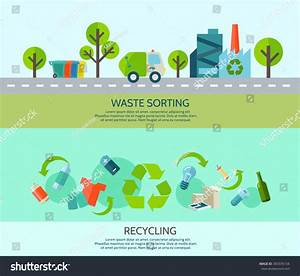 Waste Sorting Recycling Horizontal Banners Set Stock ...