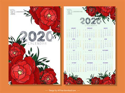 calendar templates classical floral decor vector adobe