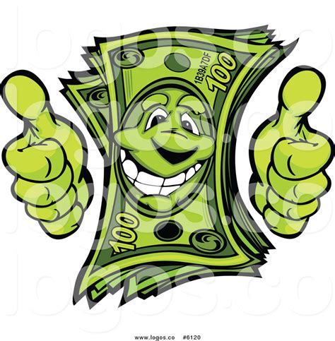 Royalty Free Clip Art Logo of a Happy Cash Money Character