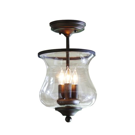 lowes semi flush mount ceiling light shop allen roth yately 8 68 in w aged bronze clear glass