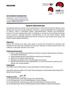 system administrator resume exles 2015 system administrator cv
