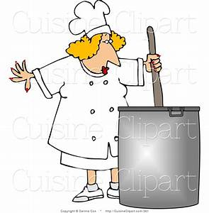 Cuisine Clipart of a Female Chef Stirring a Large Pot of ...