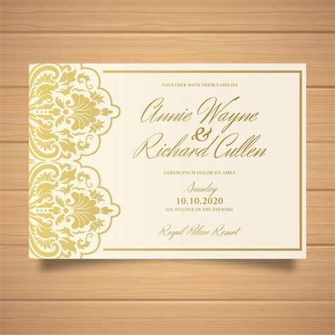 Beautiful elegant damask wedding invitation template