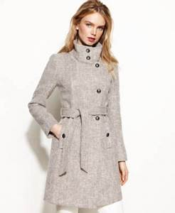 Kenneth Cole Reaction Stand Collar Wool Blend Walker Coat