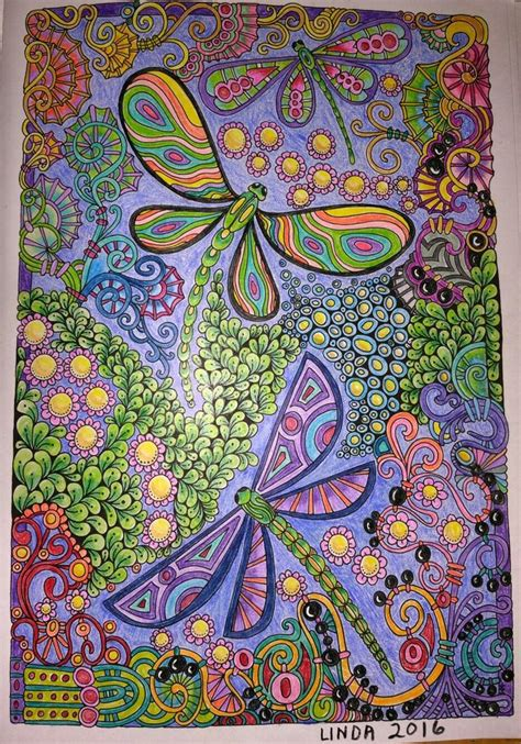creative haven entangled dragonflies colored  linda koenig heart coloring pages dragonfly